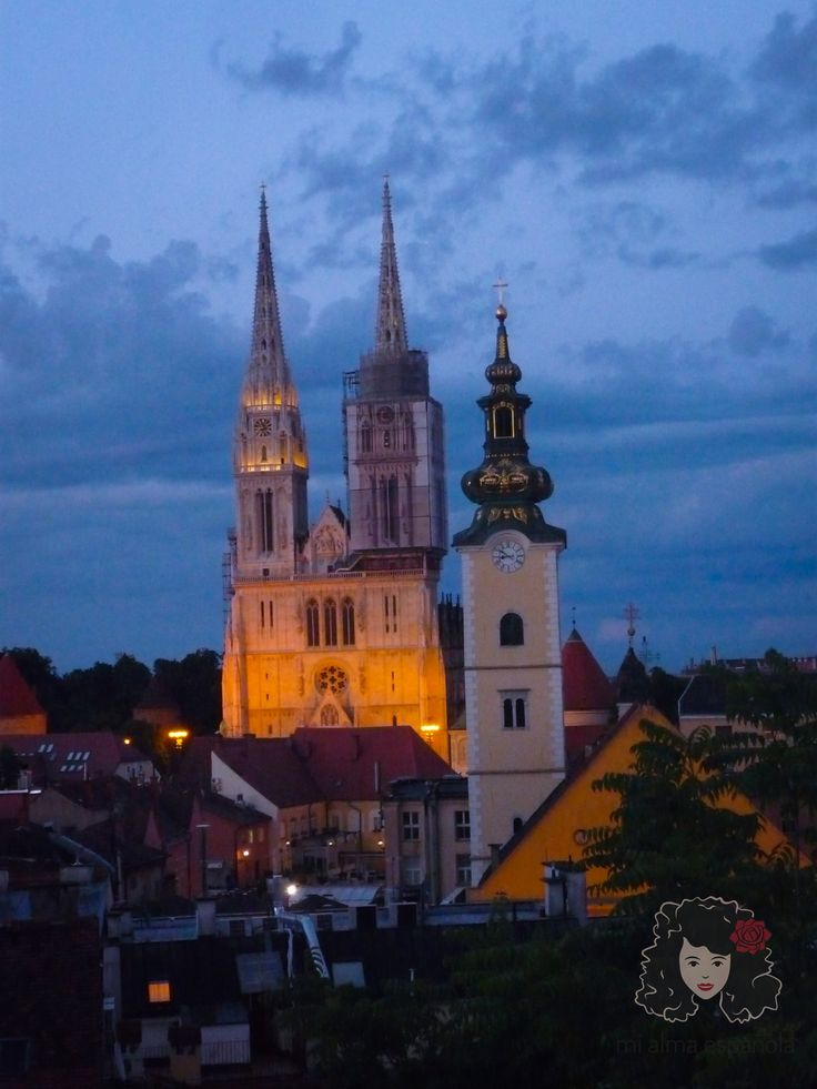 Cathedral by night. Zagreb, Croatia, June 2016.