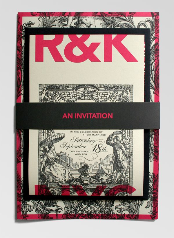 Richelle and Ken Wedding Invitation // Own Design // BINDING: Belly band, Saddle stitch // TYPOGRAPHY: Avenir, Sackers Gothic, Shelly // http://www.underconsideration.com/fpo/archives/2010/12/richelle-and-ken-wedding-invitation.php