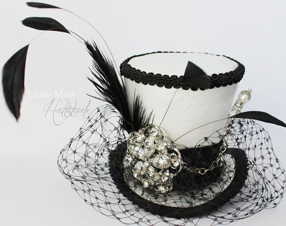 White Mini Top Hat, Wedding Top Hat, Mini Hats, Tea Party Hat, Mad Hatter Hat, White and Black Top Hat, Women Mini Top Hat, Women Fascinator