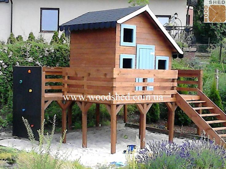 Проект детского игрового домика #Тимошка из каталога + небольшая пристройка по желанию заказчика.  http://woodshed.com.ua/detskie-domiki/23-detskij-domik-timoshka.html  #деревянныйдомик #игровойдомик #домиздерева #Woodshed