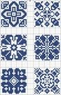 Blue tiles 04 | Free chart for cross-stitch, filet crochet | gancedo.eu