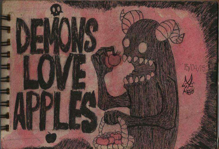 Demons and apples by GrimaceCat.deviantart.com on @DeviantArt