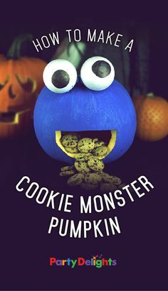 Looking for a non-scary pumpkin carving idea? Find out how to make an awesome cookie monster pumpkin with our easy step by step tutorial. A brilliant pumpkin carving idea for kids that will look great at your Halloween party!