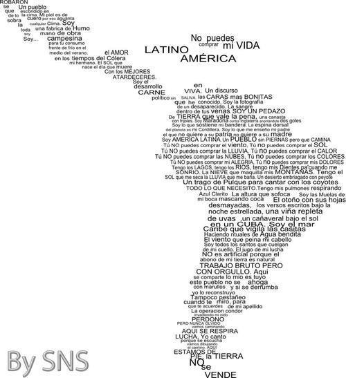 Calle 13 y América Latina. Mapa de América Latina con letra. Latinoamérica. Para Acción Testimonial Latinoamericana