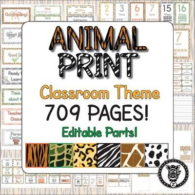 Animal Print Classroom Decoration / Organization Mega Pack!  Editable!  from ZisforZebra on TeachersNotebook.com -  (709 pages)  - Classroom Decoration / bundle / theme Animal print - 709 pages long