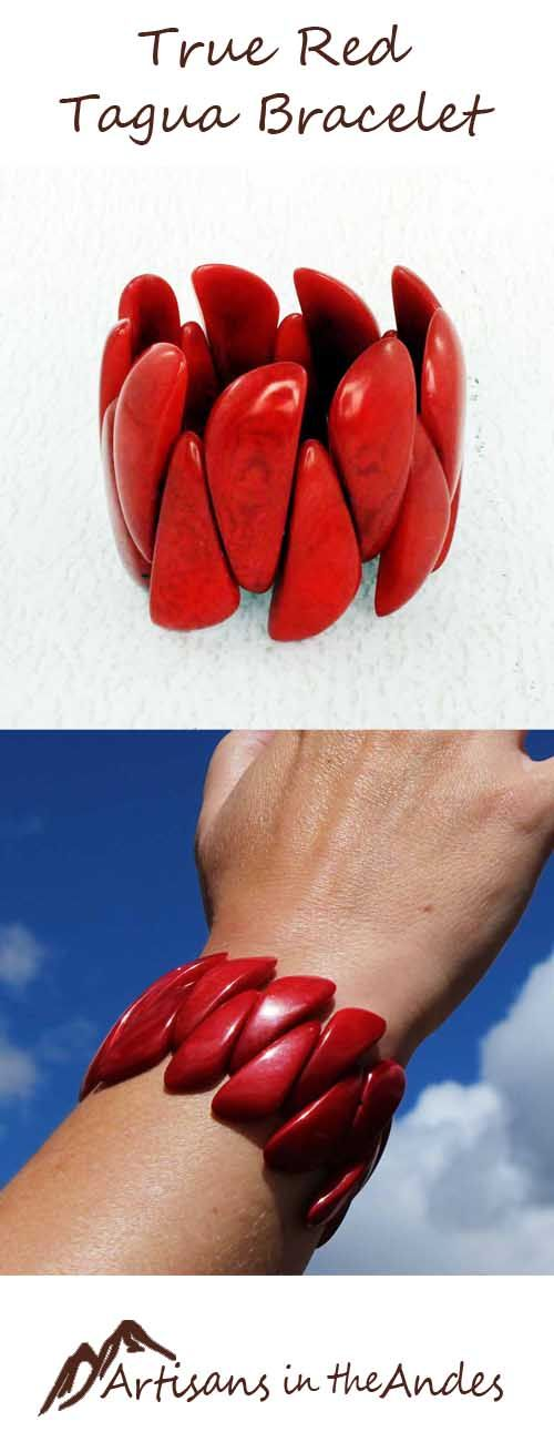 This bracelet is a gorgeous true red, to make you feel passionate and stimulated, ready for the next challenge. The unusual long soft triangular shapes of the beads fit together in a winding pattern around your wrist, symbolizing union and balance. #fashionaccessories #shoppingonline #shoppingtime #shopping