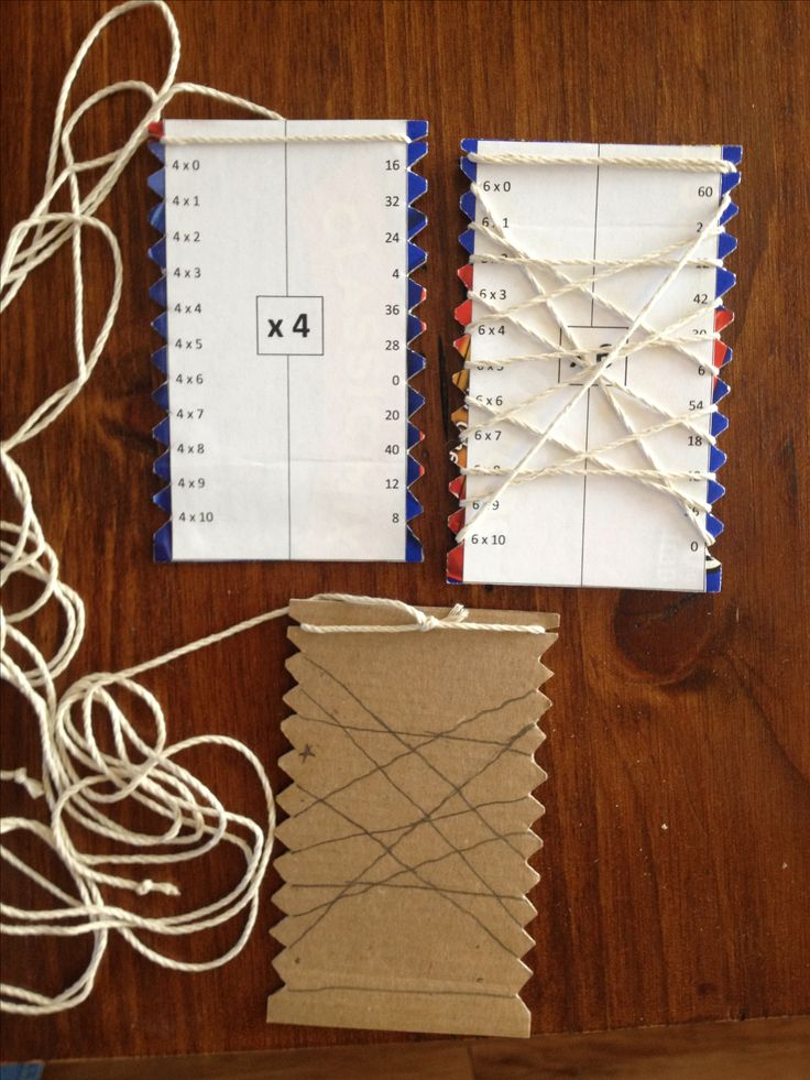 Home made math wrap-ups. Using cardboard, string and a template I created on MS Word, this math manipulative is helping my kids learn math facts. So far I've created addition and multiplication. Soon to come: subtraction and division. When the string lines up with the lines drawn on the back of the card, the kids know they got the problems right.