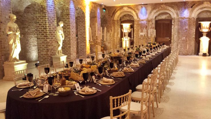 A Medieval Banqueting hall table setting in Powerscourt House. Visit www.gotchacovered.ie