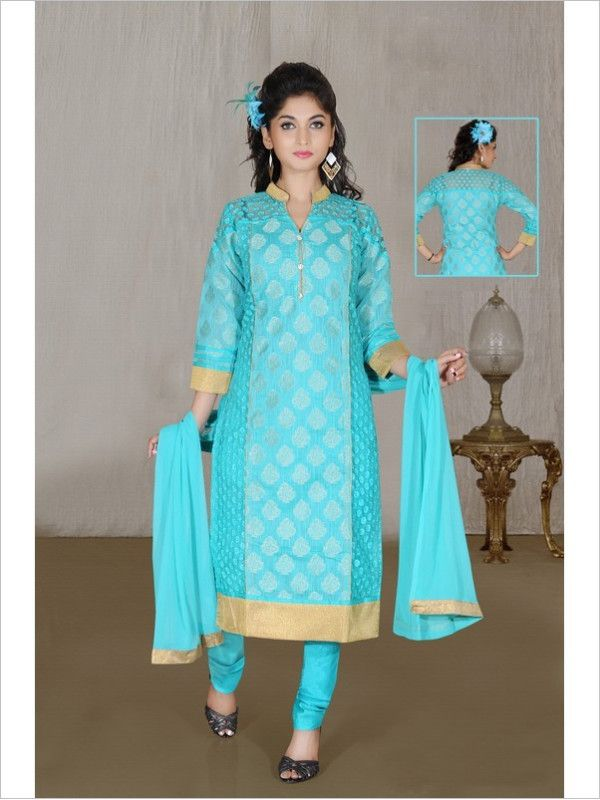 Turquoise Party Wear Art Silk Suit