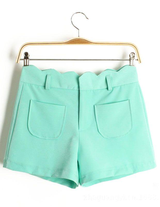 Turquoise Pockets Zigzag Straight Shorts