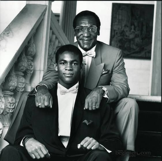 Father and son Bill Cosby and the late Ennis Cosby. Ennis who despite a lifetime struggle with dyslexia overcame it to earn degrees from Columbia University and Morehouse College prior to his death. Young Ennis was murdered in a robbery in 1997.