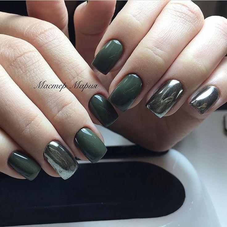 Beautiful autumn nails, Bright fall nails, Chameleon nails, Fall nails trends, Fashion nails 2017, Hardware nails, Mirror nails, Nails ideas 2017