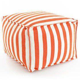Outdoor Furniture - Trimaran Stripe Indoor/Outdoor Pouf - Orange & White