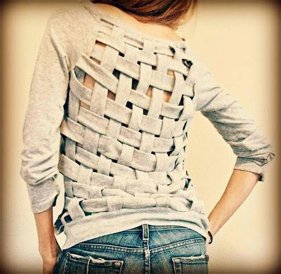 """weaving t-shirt back (or other parts), for """"air conditioning"""" or just for the look...could do easier but less exact way by cutting slots across t-shirt in one direction, then sewing a strip of long strips from another fabric or t-shirt at end of other direction and weave them through the original strips (and tack down at other end)"""