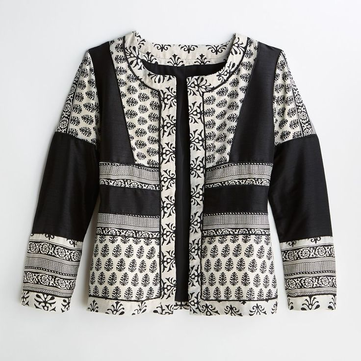 Beautifully pieced block printed cotton jacket