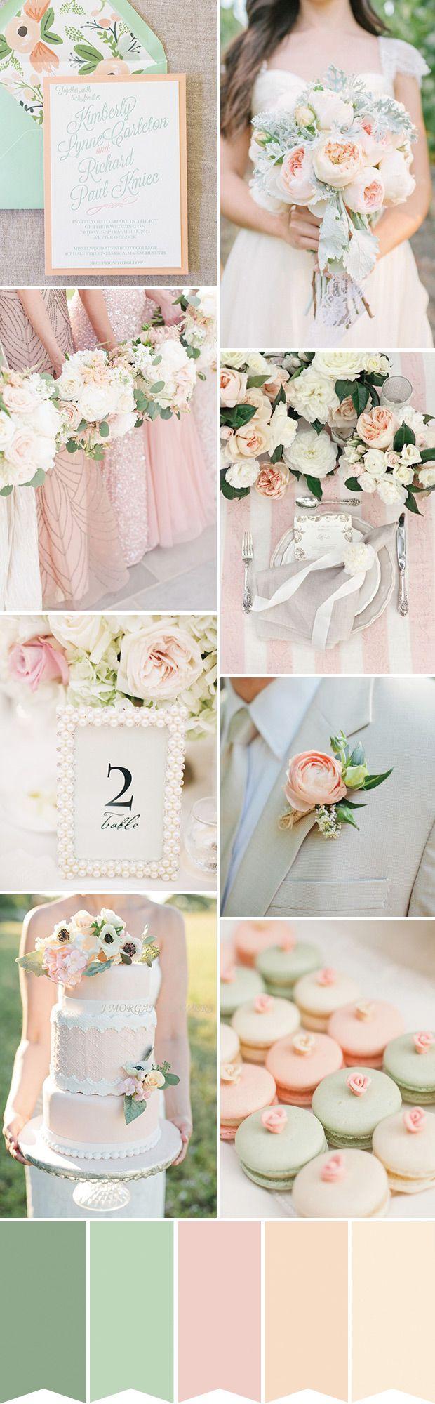 Softest Peach and Mint Wedding Inspiration // www.onefabday.com