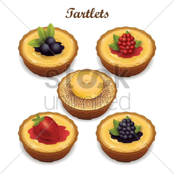 collection of tartlets vector graphic
