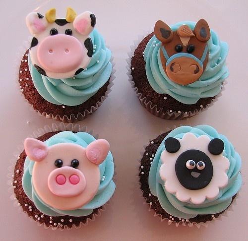 Farm Animal Cupcakes. Cupcakes de animales de granja.