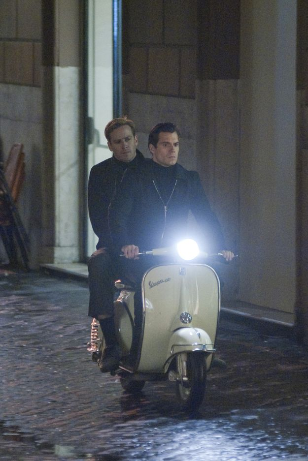 Yes Superman took the hot Winklevoss twin for a nice ride around on a Vespa for their new movie. | Armie Hammer And Henry Cavill Rode A Scooter Together
