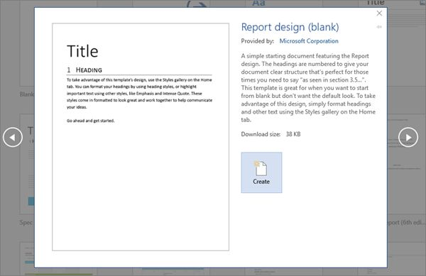 TITLE_Shows a Report design template preview in Word 2016.