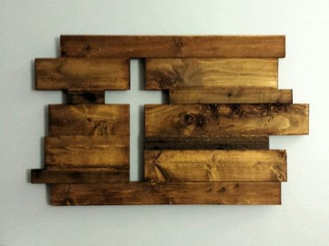 """Approximately 30x18. Each handmade piece is made to order. These beautiful rustic pieces are generally made of oak, cedar pine and reclaimed wood . Imperfections add to the character and charm of the pieces. We hand select and arrange the pieces to achieve just the right mix of color, texture and character. The thickness is generally ¾"""" but widths vary. Each piece is finished with Danish Oil to bring out the character in the wood. Hangers are added to the back to allow easy hanging. We can…"""
