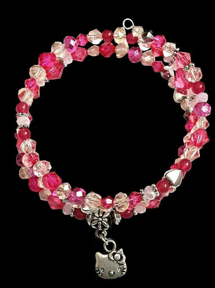 Hello kitty pink crystal beaded bracelet