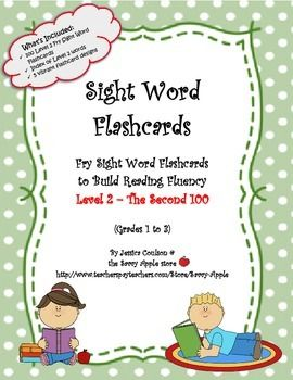 Use these 100 Fry Sight Word Flashcards in the classroom or at home to help children develop their reading fluency. These Level 2 Fry Sight Words are the second 100 in a set of 1,000. Fry Sight Words are known to be the most frequently used words in reading and writing.
