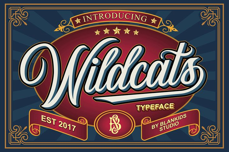 Wildcats Font  Wildcats is a vintage and seductive calligraphy font. Inspired by vintage labels, signage, and packages, Wildcats is ideal for similar design ideas but can enhance different designs due to its versatility and charm.