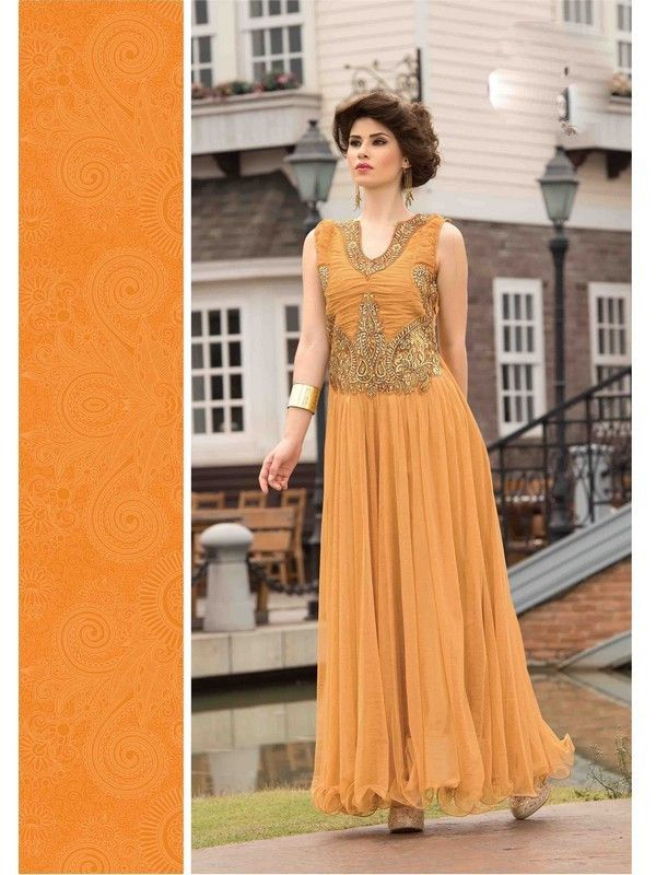 Beige Partywear Net Women Gown Price INR 4013