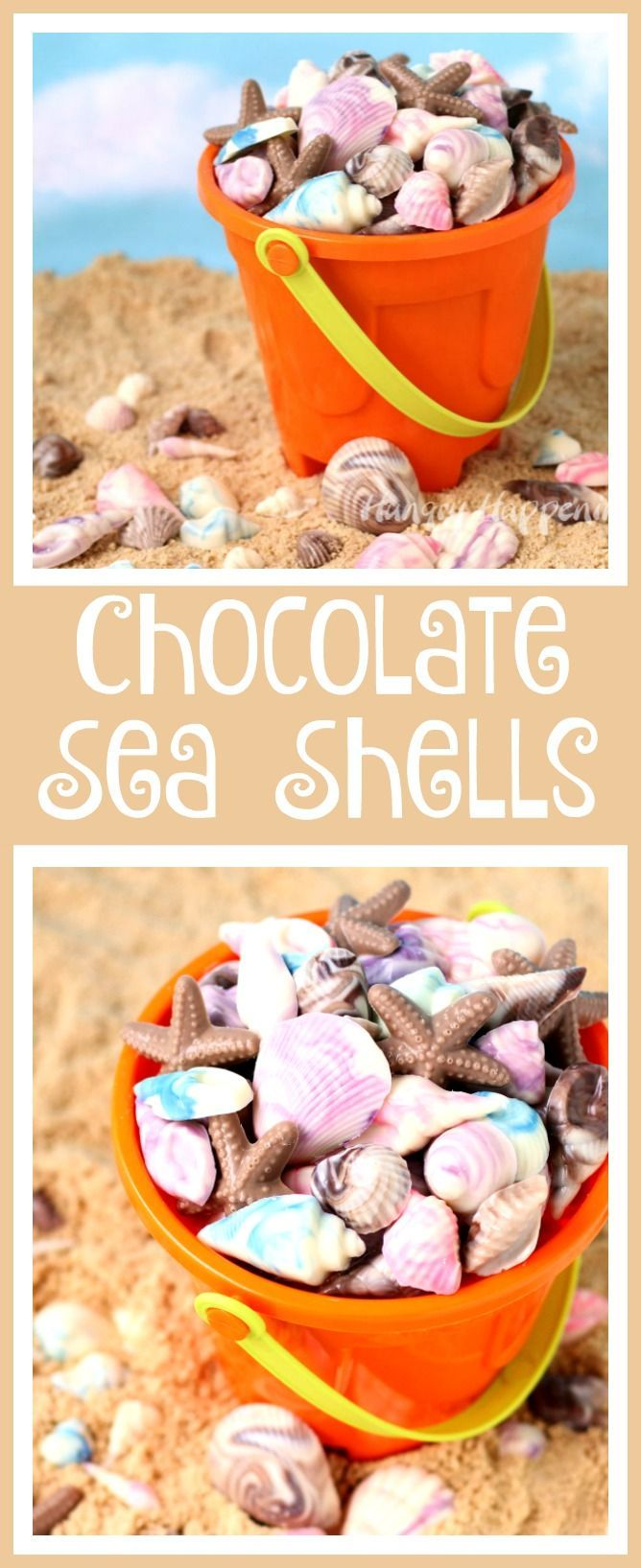 Swirl colored chocolate together to create beautiful Chocolate Sea Shells. See the step-by-step tutorial at HungryHappenings.com.