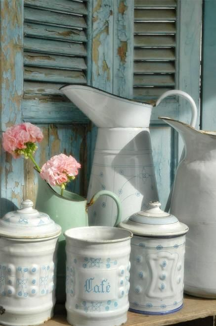 French Vintage Decorating - how to get this look in your home - what colors, patterns, textures and furniture styles + chandeliers!!! to look for when building the layers of your space - Vintage Kitchen Canisters