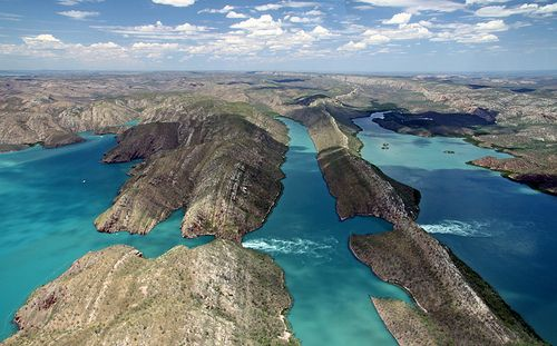"Horizontal Falls, Australia / ""Despite their name, the Horizontal Falls aren't actual waterfalls but a very fast moving tidal flow between two narrow gorges. As the tides in the Kimberley can run up to 10 metres, the flow on a large tide is spectacular"""