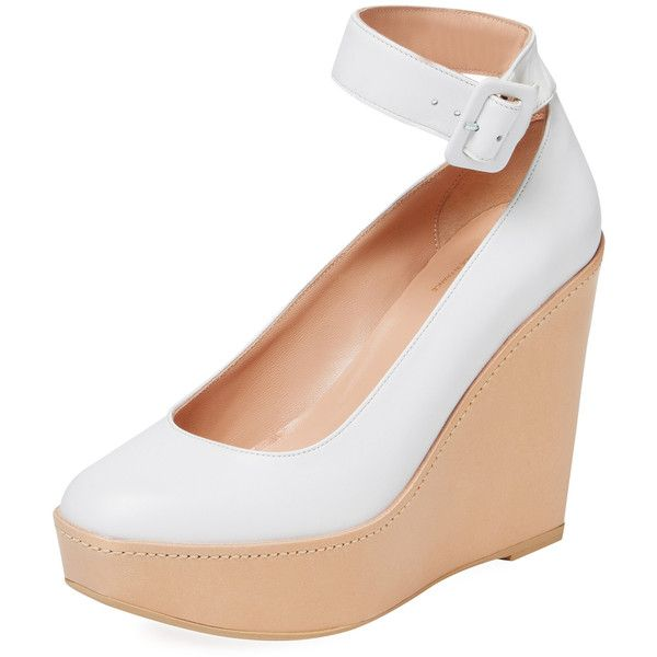 Robert Clergerie Women's Ferdie Ankle-Wrap Wedge - White, Size 39 ($249) ❤ liked on Polyvore featuring shoes, sandals, white, leather sandals, white wedge shoes, leather platform sandals, high wedge sandals and wedge sandals