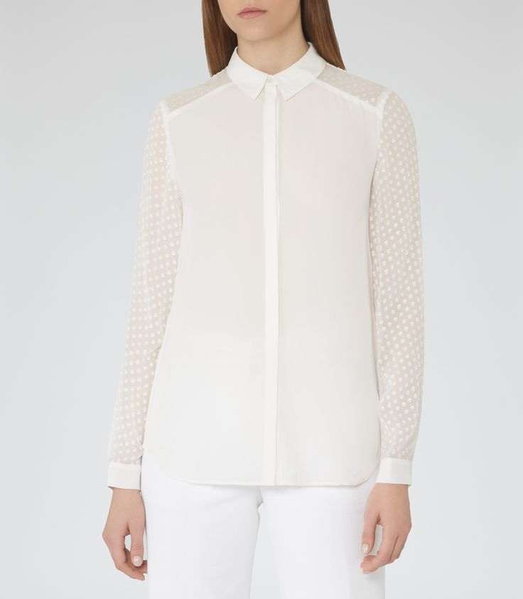 Womens Off White Sheer-sleeve Shirt - Reiss Frenchie