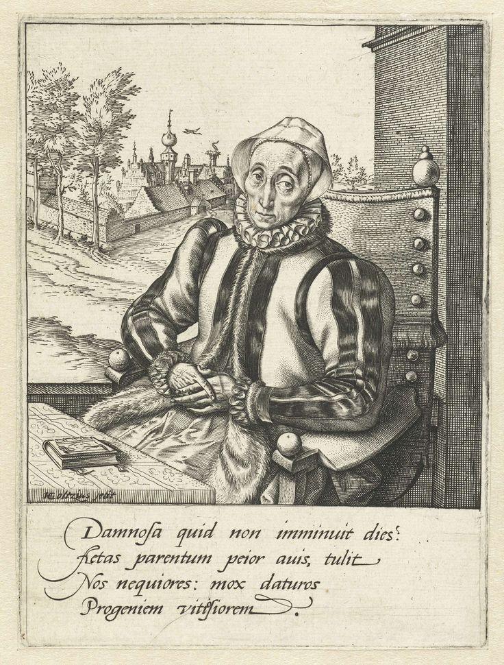 Hendrick Goltzius   Portret van Anna Fullings, moeder van de kunstenaar, Hendrick Goltzius, 1581 - 1585   Een oude vrouw, met een linnen kapje op het hoofd, zittend achter een tafel waarop een boekje ligt. Op de achtergrond links een burcht of stadje. Vier regels Latijn in marge onder de prent.