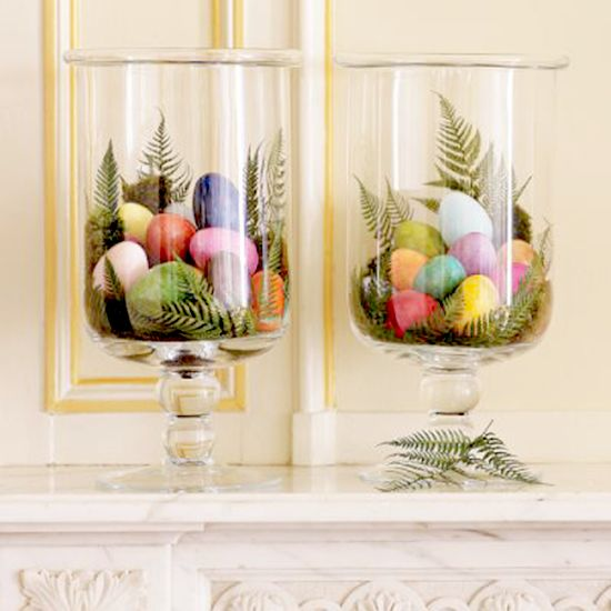 Hurricanes & Painted Eggs on Mantle - Holidaysville - Williams Sonoma
