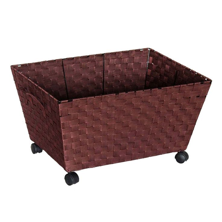 Rectangular Nylon Band Laundry Bin With Wheels Brown