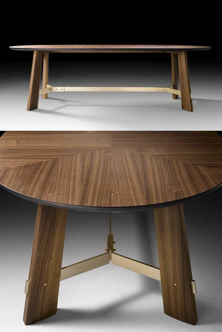 Contemporary Italian Designer Oval Walnut Dining Table