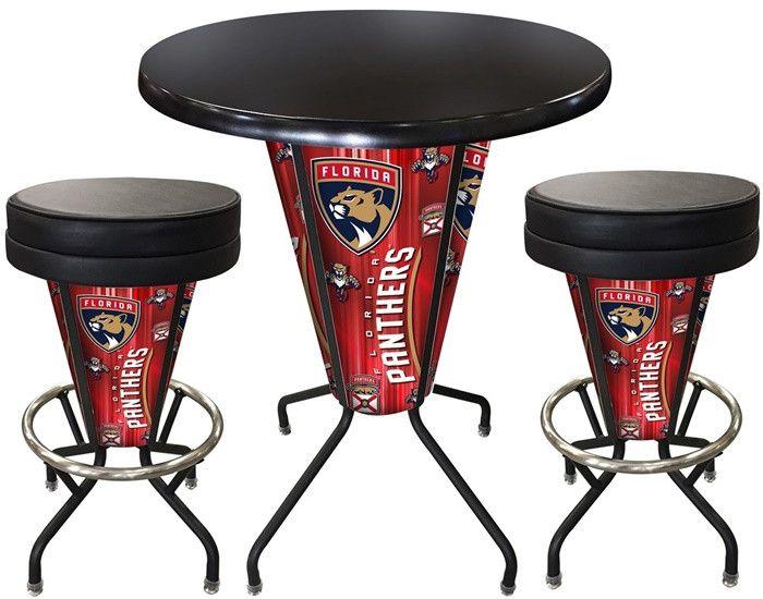 Florida Panthers D1 Black Lighted Pub Table Set. Two additional Stools are optional. Visit SportsFansPlus.com for details.