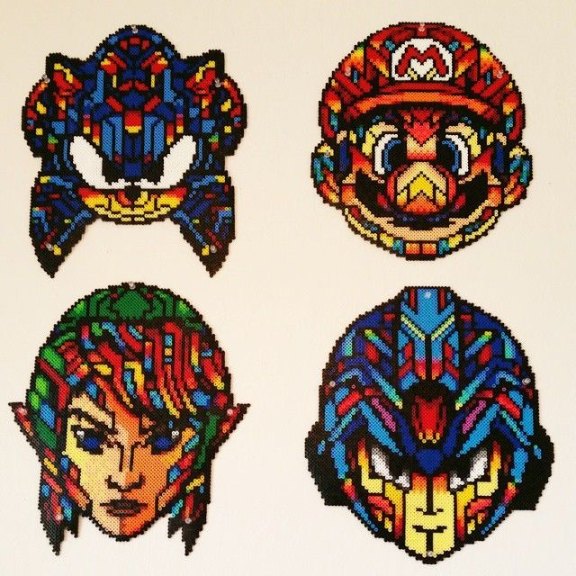 Stained Glass Style Video Game Perler Bead Art by dazer24 **These are ORIGINAL designs by dazer24**