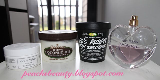 #5FriFaves #1 - V Blushing Phoenix Body Mousse, Coconut Oil, Lush Ro's Argan Body Conditioner, Vera Wang Princess