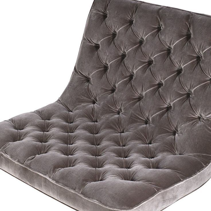 Mouse grey velvet club chair, detailed image.