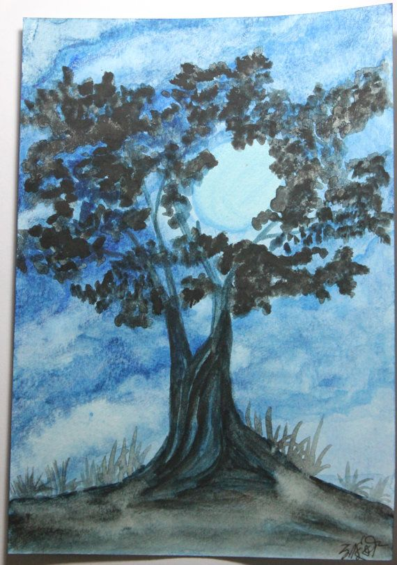 Moonlit Night Tree  Handmade watercolor painting by RunePineStudio