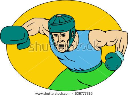 Drawing sketch style illustration of an amateur boxer wearing headgear hitting a knockout punch viewed from front set inside oval shape.   #boxer #sketch #illustration