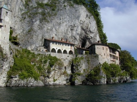 Eremo Santa Caterina - The Monastery of Santa Caterina del Sasso is one of the most spectacularly located places in northern Italy. Clinging to the high rocky face of this southeast shore of Lake Maggiore