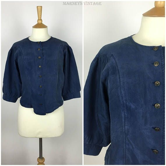 Vintage 1980s Oversized Blouse  80s Retro Blue Puff Sleeve