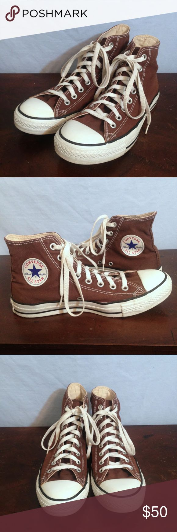 Saddle Brown Converse All-Star High-Top Sneakers Saddle Brown Converse Canvas All-Star High-Top Sneakers. The classic Converse canvas high-top sneaker in a rich chocolate brown. Slight color fading/discoloration on the outside of the right shoe. Minor wear on the tread, but generally in really great condition. Size Men's 7 (Women's 9). Converse Shoes Sneakers