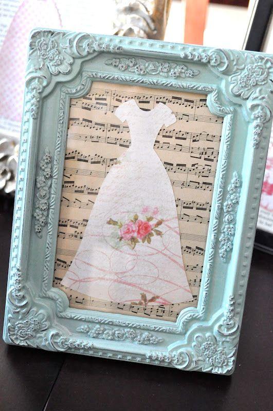 Bridal Shower idea~ framed dresses centerpiece {tutorial}