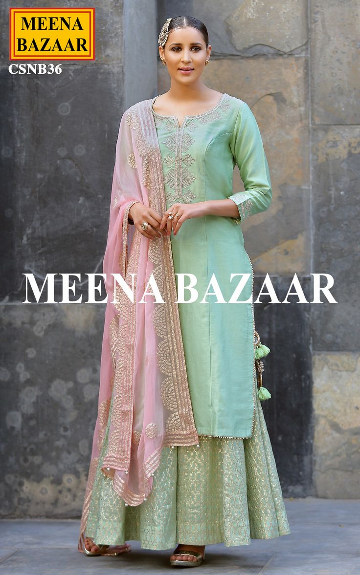 Embody feminine elegance in this Pista chanderi sharara suit. It will definitely a interesting look to your wardrobe collection. Highlighted with hand embroidery gota work with banarasi chanderi sharara. Comes with pink chiffon dupatta badla work all over and tassels.