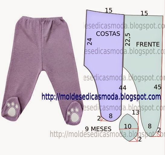Footed Leggings or Pajama Bottoms, Written in Portuguese but could use Google Translate,(CALÇA DE BEBÉ FÁCIL DE FAZER-1 ~ Moldes Moda por Medida)